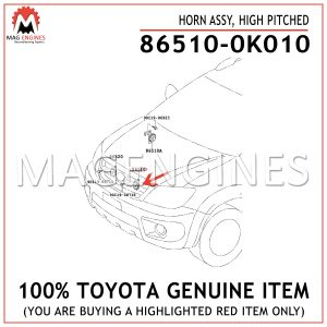 86510-0K010 TOYOTA GENUINE HORN ASSY, HIGH PITCHED 865100K010