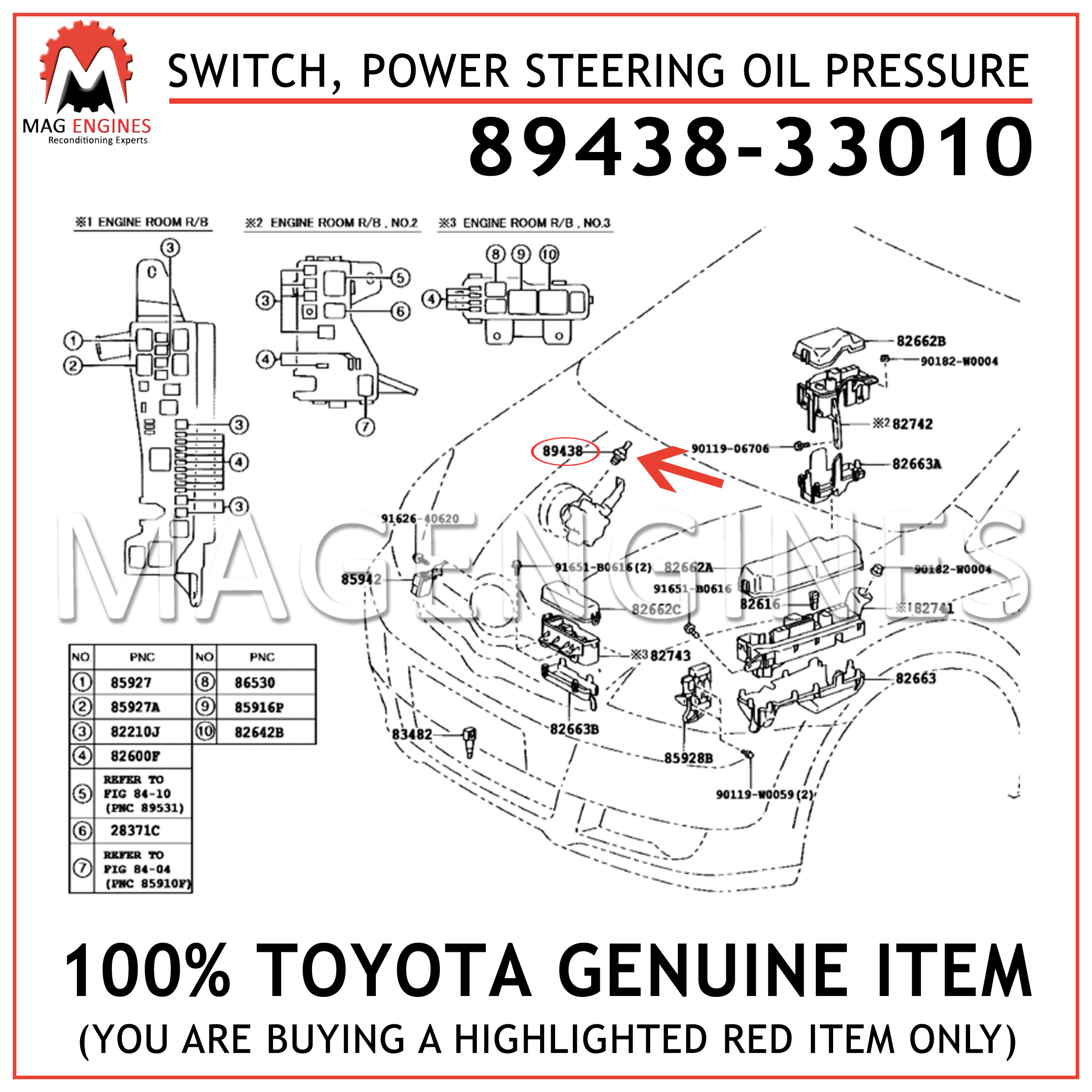 For Toyota Genuine Power Steering Pressure Switch Front 8943833010