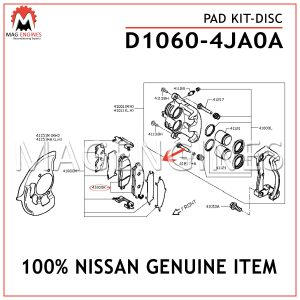 D1060-4JA0A NISSAN GENUINE PAD KIT-DISC D10604JA0A