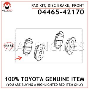 04465-42170 TOYOTA GENUINE PAD KIT, DISC BRAKE, FRONT 0446542170
