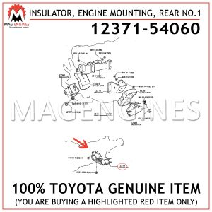 12371-54060TOYOTA GENUINE INSULATOR, ENGINE MOUNTING, REAR NO.1 1237154060
