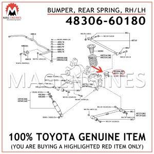 48306-60180 TOYOTA GENUINE BUMPER SUB-ASSY, REAR SPRING, RH/LH 4830660180