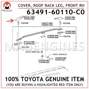 63491-60110-C0 TOYOTA GENUINE COVER, ROOF RACK LEG, FRONT RH 6349160110C0