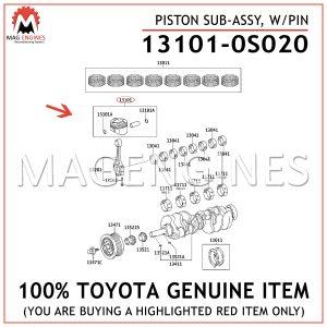 13101-0S020 TOYOTA GENUINE PISTON SUB-ASSY, W/PIN 131010S020
