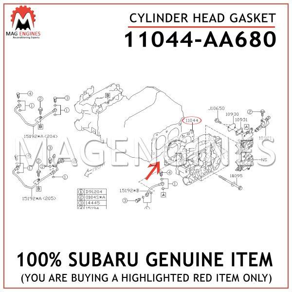 11044-AA680 SUBARU GENUINE CYLINDER HEAD GASKET 11044AA680
