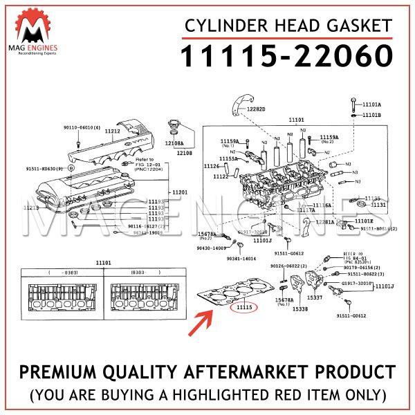11115-22060 CYLINDER HEAD GASKET TOYOTA 2ZZ-GE 16V 1.8 LTR