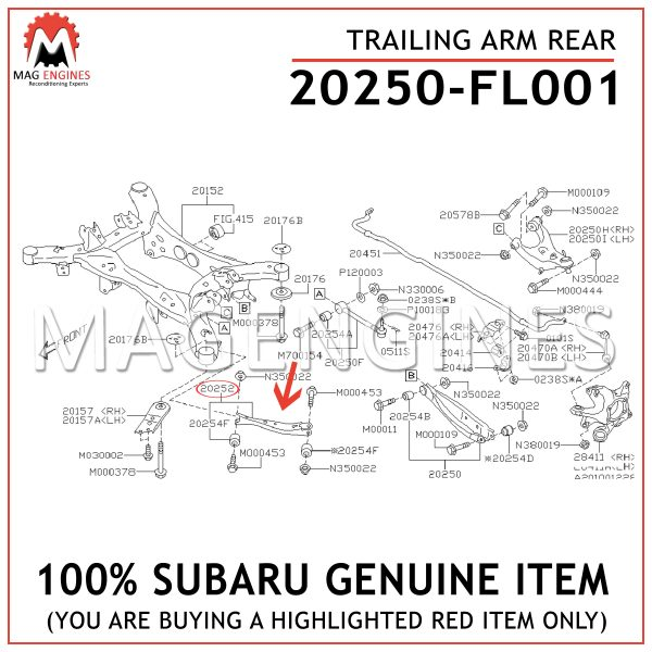 20250-FL001 SUBARU GENUINE TRAILING ARM REAR 20250FL001
