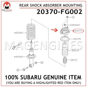 20370-FG002 SUBARU GENUINE REAR SHOCK ABSORBER MOUNTING 20370FG002