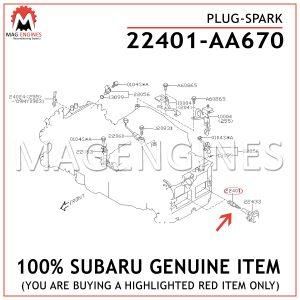 22401-AA670 SUBARU GENUINE PLUG-SPARK 22401AA670