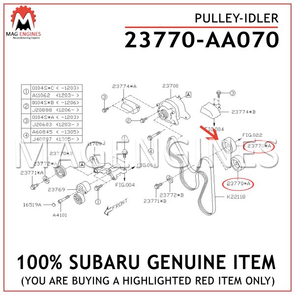 23770-AA070 SUBRAU GENUINE PULLEY-IDLER 23770AA070