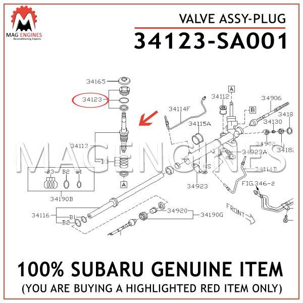 34123-SA001 SUBARU GENUINE VALVE ASSY-PLUG 34123SA001
