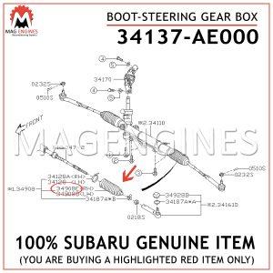 34137-AE000 SUBARU GENUINE BOOT-STEERING GEAR BOX 34137AE000