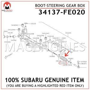 34137-FE020 SUBARU GENUINE BOOT-STEERING GEAR BOX 34137FE020