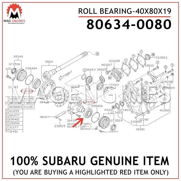 80634-0080 SUBARU GENUINE ROLL BEARING-40X80X19 806340080