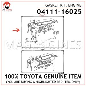 04111-16025 TOYOTA GENUINE GASKET KIT, ENGINE 0411116025