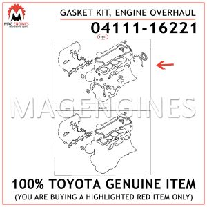 04111-16221 TOYOTA GENUINE GASKET KIT, ENGINE OVERHAUL 0411116221