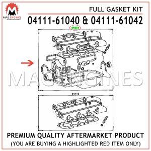 04111-6104042 FULL GASKET KIT TOYOTA 2F 4.2 LTR