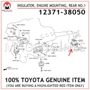 12371-38050 TOYOTA GENUINE INSULATOR, ENGINE MOUNTING, REAR NO.1 1237138050