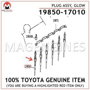 19850-17010 TOYOTA GENUINE PLUG ASSY, GLOW 1985017010