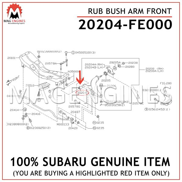 20204-FE000 SUBARU GENUINE RUB BUSH ARM FRONT 20204FE000