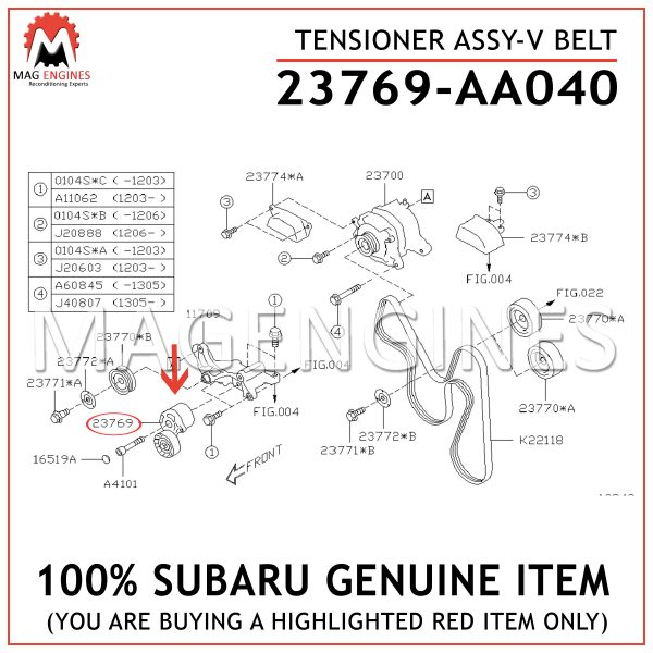 23769-AA040 SUBARU GENUINE TENSIONER ASSY-V BELT 23769AA040