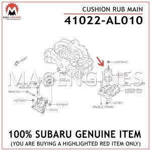 41022-AL010 SUBARU GENUINE CUSHION RUB MAIN 41022AL010