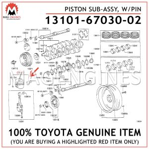 13101-67030-02 TOYOTA GENUINE PISTON SUB-ASSY, WPIN 131016703002