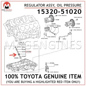 15320-51020 TOYOTA GENUINE REGULATOR ASSY, OIL PRESSURE 1532051020