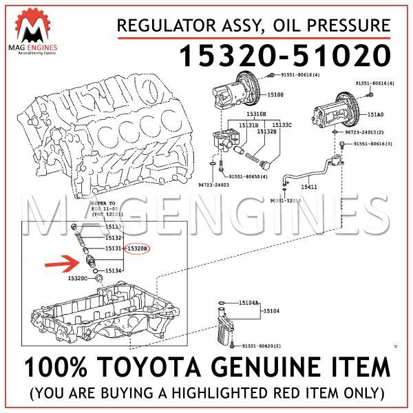 15320-51020 TOYOTA GENUINE REGULATOR ASSY, OIL PRESSURE 1532051020