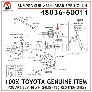 48036-60011 TOYOTA GENUINE BUMPER SUB-ASSY, REAR SPRING, LH 4803660011