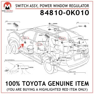 84810-0K010 TOYOTA GENUINE SWITCH ASSY, POWER WINDOW REGULATOR 848100K010