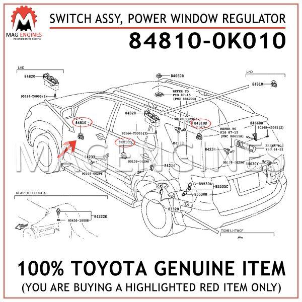 84810-0K010 TOYOTA GENUINE SWITCH ASSY, POWER WINDOW REGULATOR 848100K010