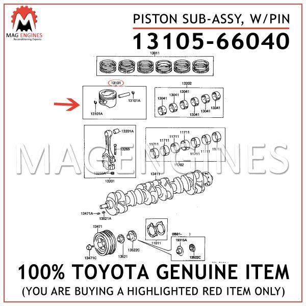 13105-66040 TOYOTA GENUINE PISTON SUB-ASSY, WPIN 1310566040