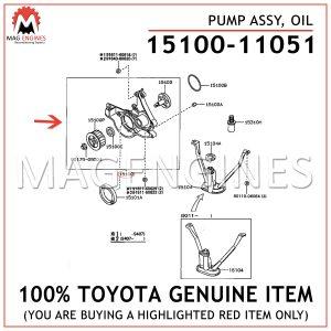 15100-11051 TOYOTA GENUINE PUMP ASSY, OIL 1510011051
