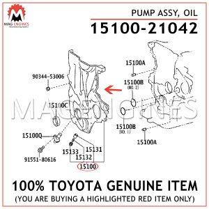 15100-21042 TOYOTA GENUINE PUMP ASSY, OIL 1510021042
