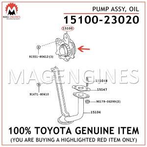 15100-23020 TOYOTA GENUINE PUMP ASSY, OIL 1510023020