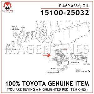 15100-25032 TOYOTA GENUINE PUMP ASSY, OIL 1510025032