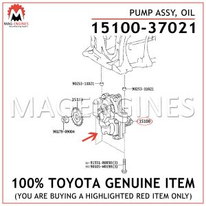 15100-37021 TOYOTA GENUINE PUMP ASSY, OIL 1510037021