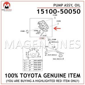 15100-50050 TOYOTA GENUINE PUMP ASSY, OIL 1510050050