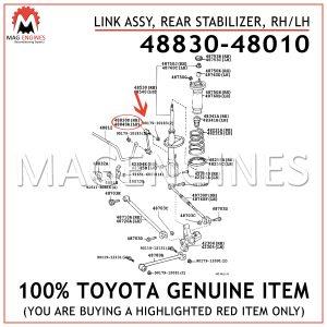 48830-48010 TOYOTA GENUINE LINK ASSY, REAR STABILIZER, RHLH 4883048010