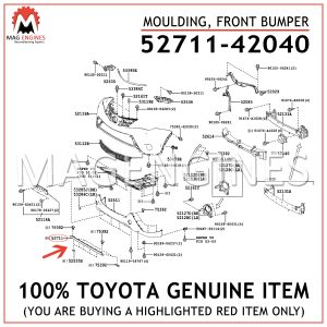 52711-42040 TOYOTA GENUINE MOULDING, FRONT BUMPER 5271142040