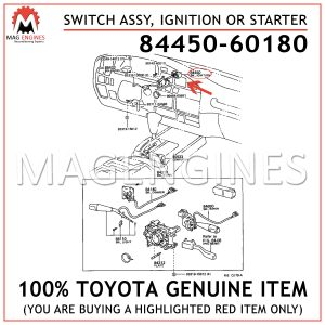84450-60180 TOYOTA GENUINE SWITCH ASSY, IGNITION OR STARTER 8445060180
