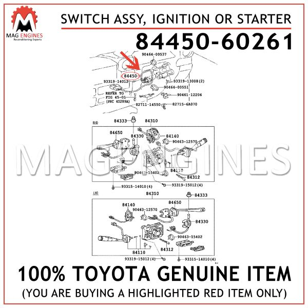 84450-60261 TOYOTA GENUINE SWITCH ASSY, IGNITION OR STARTER 8445060261
