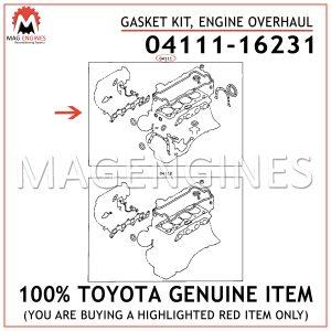04111-16231 TOYOTA GENUINE GASKET KIT, ENGINE OVERHAUL 0411116231