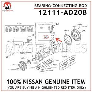 12111-AD20B NISSAN GENUINE BEARING-CONNECTING ROD 12111AD20B