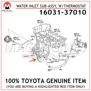 16031-37010 TOYOTA GENUINE WATER INLET SUB-ASSY, WTHERMOSTAT 1603137010