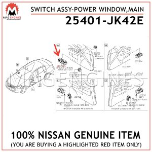 25401-JK42E NISSAN GENUINE SWITCH ASSY-POWER WINDOW,MAIN 25401JK42E
