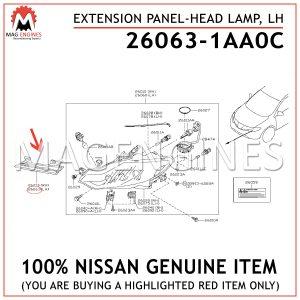 26063-1AA0C NISSAN GENUINE EXTENSION PANEL-HEAD LAMP, LH 260631AA0C