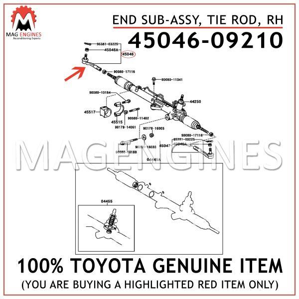 45046-09210 TOYOTA GENUINE END SUB-ASSY, TIE ROD, RH 4504609210