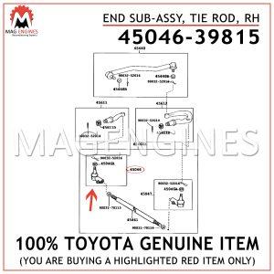 45046-39815 TOYOTA GENUINE END SUB-ASSY, TIE ROD, RH 4504639815